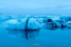 Jokulsarlon Lagoon, a large glacial lake in southeast Iceland, on the edge of Vatnajökull National Park.