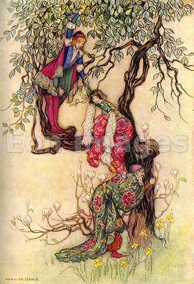January Helping May into the Tree by Warwick Goble