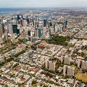 Fitzroy In The Foreground, East Melbourne and the CBD In The Center, City of Yarra