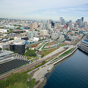 Seattle Art Museum's Olympic Sculpture Park and Space Needle landmark