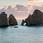 Stone arch at Land's End with sand under the arch, Cabo San Lucas, Los Cabos, Baja California Sur, Mexico