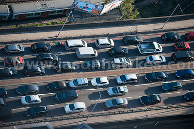 Aerial view of cars queuing on West Cromwell Road, London