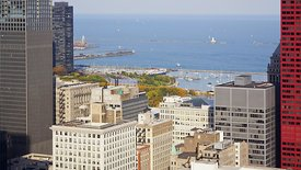 Bird's Eye: Rush Hour, High-Rises, Mid-Rises, & Lake Michigan