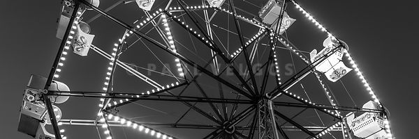 Newport Beach Ferris Wheel Black and White Panorama Photo