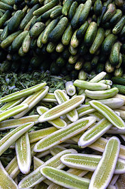 Sliced cucumbers for sale at Crawford Market, Mumbai, India.