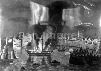 USS Philadelphia burns during Tripolitan War