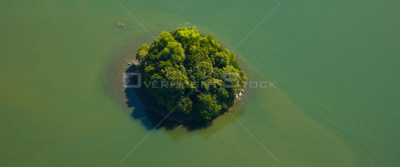 Aerial view of island in the mouth of the River Kinabatangan, Sabah, Borneo, Malaysia. 2007