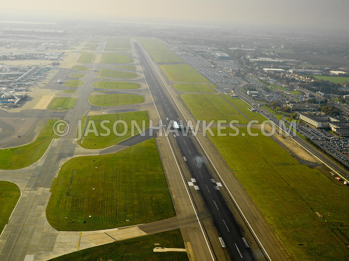 Aerial view of Plane taking off at Heathrow Airport
