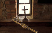 old ivory sceptre, St. Peter's Cathedral , built 1905, Likoma Island, Lake Malawi, Malawi