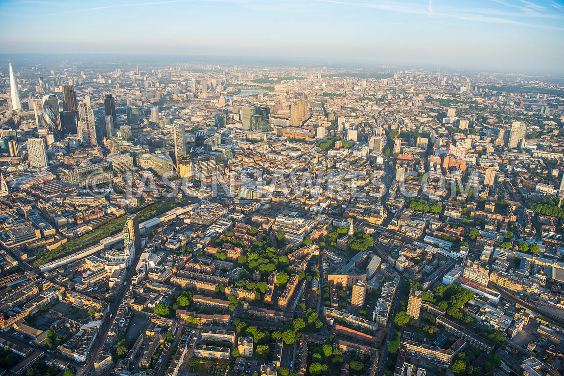 Aerial view of London, Shoreditch and City skyline.
