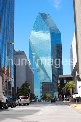 Tall office building and street in foreground, Dallas, Texas