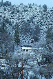 Merced River area, California (2006/03/21) : when arriving our hopes sank deep when it started to snow in the evening ...awak...