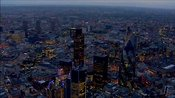 Aerial footage over The City of London at night, London, England, UK
