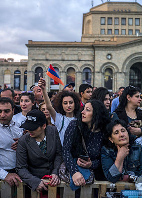 Ambience on the Republic Square, epicenter of the protest, where the leader Nikol Pashinyan called for a rally, on May 2, 201...