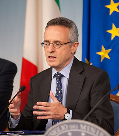Italian Agriculture minister Mario Catania speaking at press conference