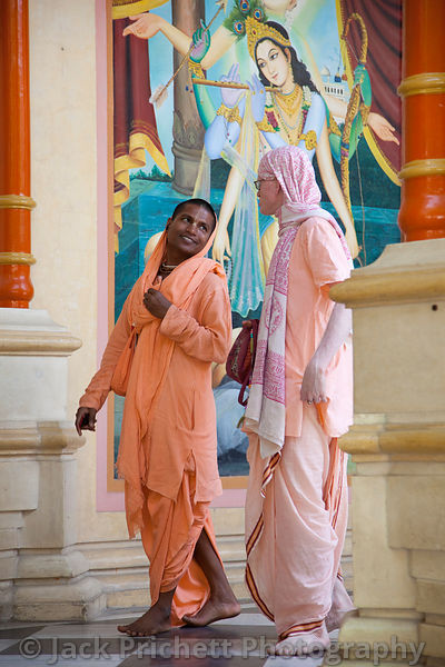 Hare Krishna devotees in their  temple at Mathura.