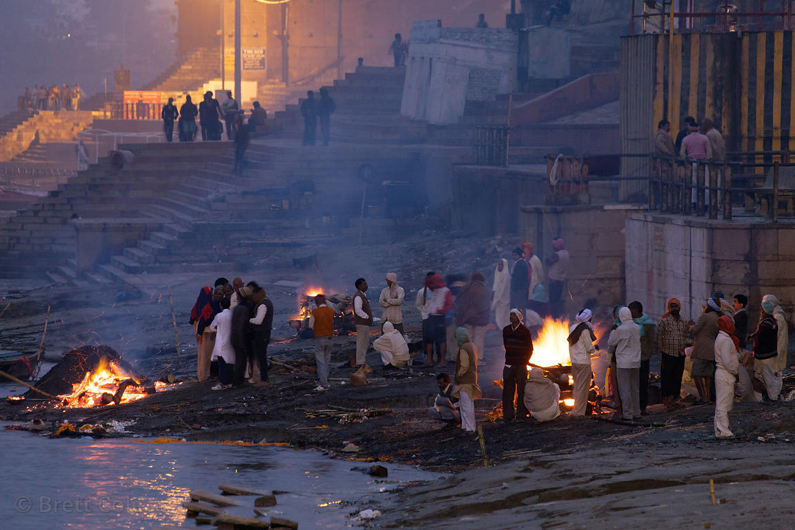Harish Chandra burning ghat at night, Varanasi, India.