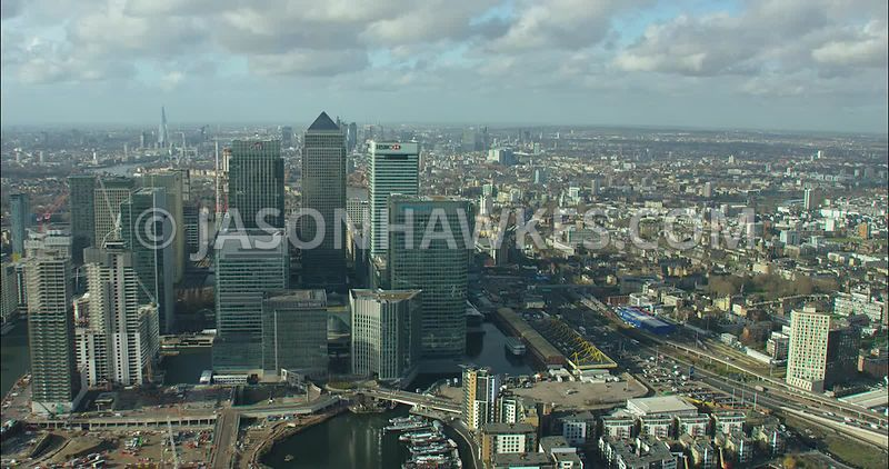 London Aerial footage, Canary Wharf  with Canada Tower.