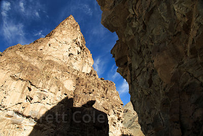 Massive rock formations in Hemis National Park near Rumbak, Ladakh, India