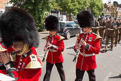 Irish Guards Band Marching along Horsefair