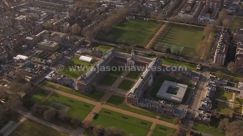 Aerial footage of The Royal Hospital Chelsea, London