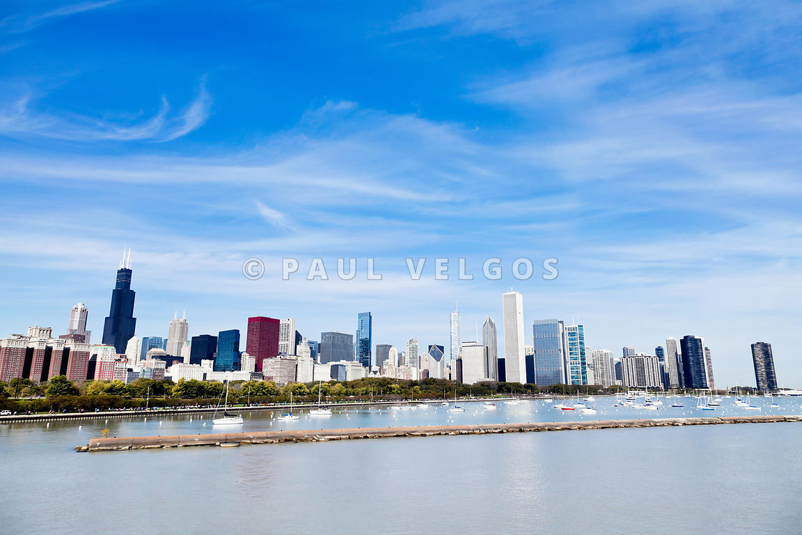Chicago Lakefront Skyline Wide Angle