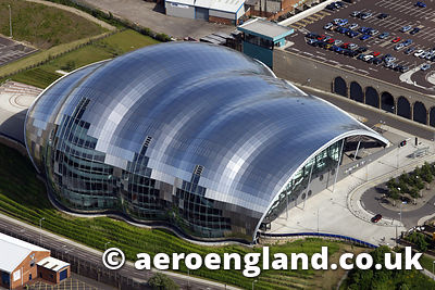 aerial photograph of the Sage Building in Gateshead Tyne & Wear UK