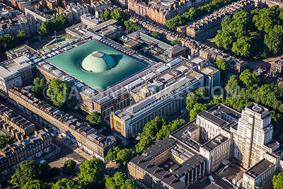 Aerial view of London, Bloomsbury, Senate House and British Museum.