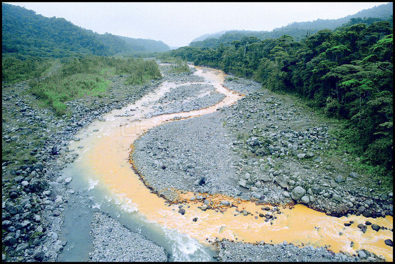 COSTA RICA Rio Sucio -- It's waters tainted by volcanic soils, the River Sucio (Dirty River) during the El Nino drought in 19...