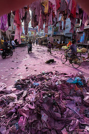 A purple cityscape after the Holi Festival, Pushkar, Rajasthan, India