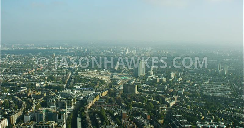 London Aerial Footage of West London, Earls Court