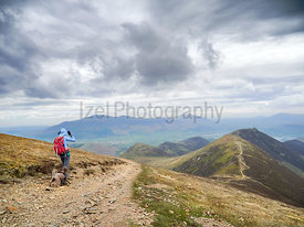 A hiker and their dog walking down from the summit of Sail with Scar Crags and Causey Pike in the distance. English Lake Dist...