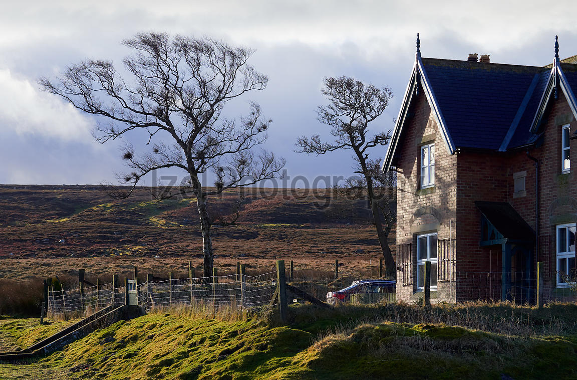 An old traditional brick building situated in the remote Muggleswick Common near Edmundbyers, English Countryside, UK.