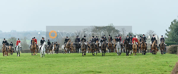 leaving the meet. The Belvoir Hunt at Highfield Farm 12/12