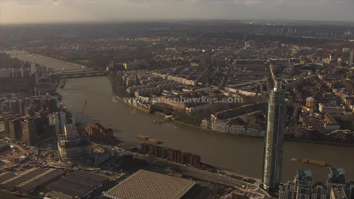 Aerial footage of Nine Elms and Pimlico, London