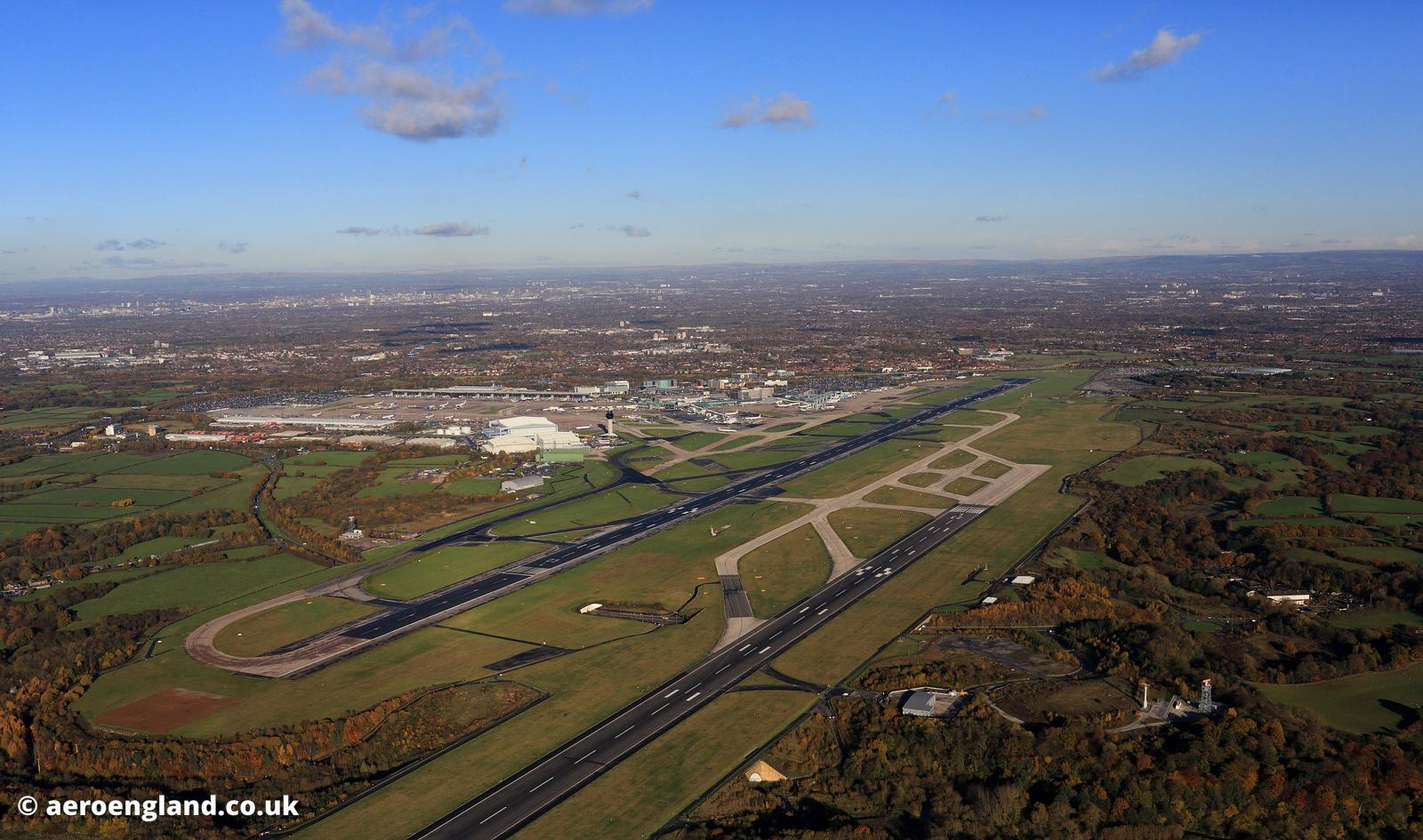 aerial photograph of Manchester airport  Greater Manchester England UK