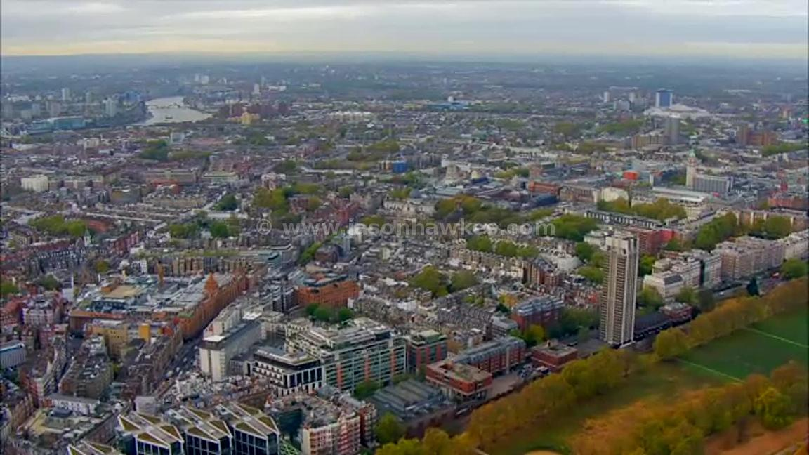 Aerial footage of Knightsbridge and South Kensington, London