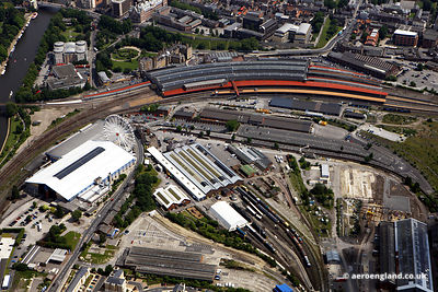aerial photograph of the National Railway Museum   and York Railway Station  , York England UK