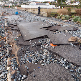 storm damage on the Penzance/Newlyn seafront