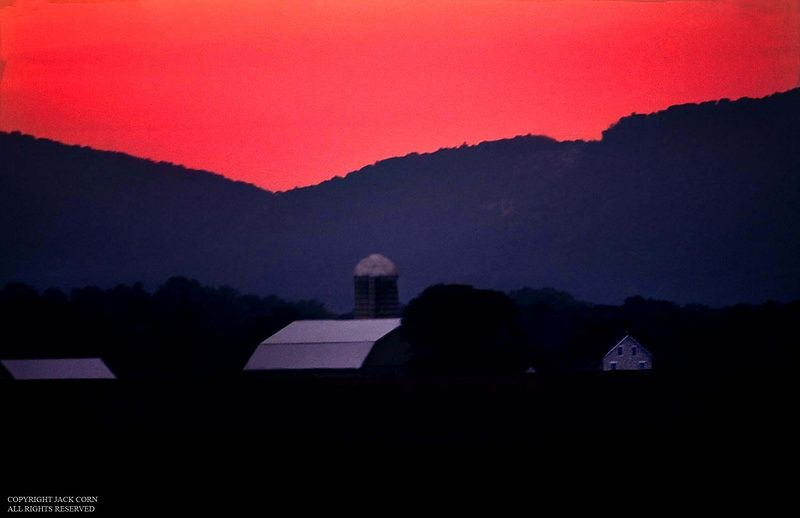 Maine farm after sunset