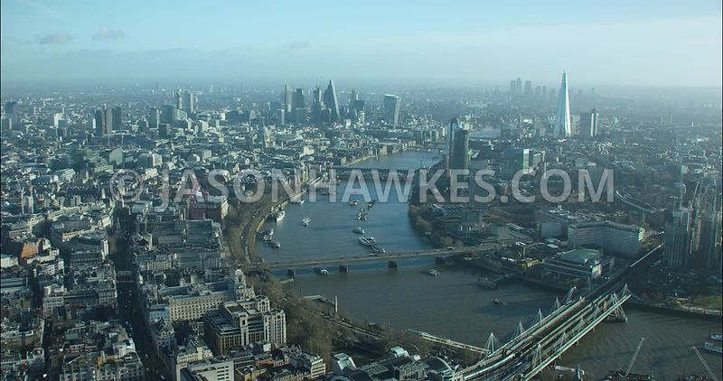 London Aerial footage, Blackfriars Bridges towards Strand and Temple.