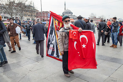 Man selling Turkish flags