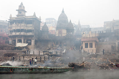 Burning ghats (crematorium) on the Ganges River, Varanasi, India.