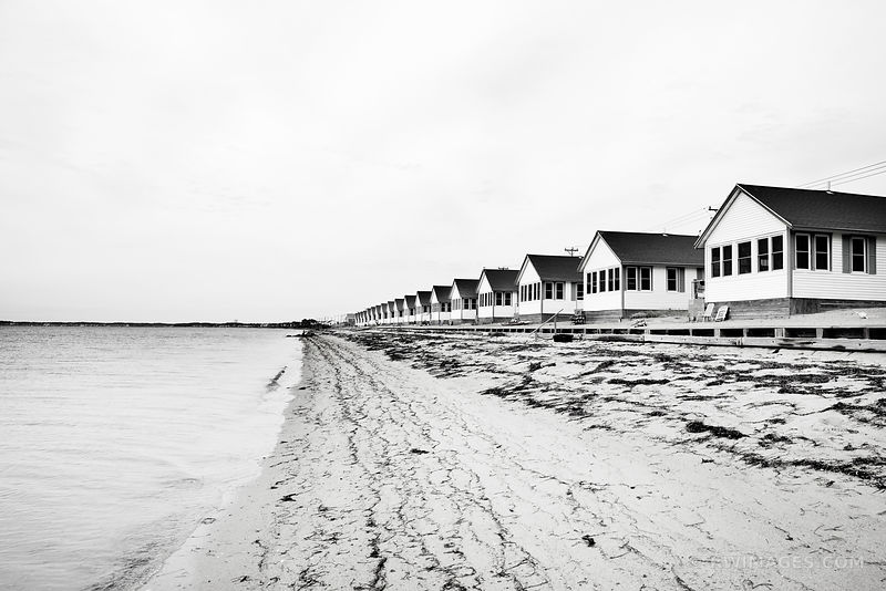 ROW COTTAGES TRURO CAPE COD BLACK AND WHITE