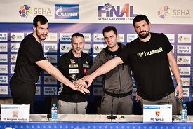 Isaias GUARDIOLA of MVM VESZPREM, Xavier SABATE of MVM VESZPREM, Raul GONZALES of Vardar, Arpad ŠTERBIK of Vardar during the ...