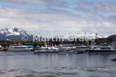 Tourist boats tied up at Ushuaia, Tierra del Fuego, Argentina