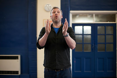 UK - Scunthorpe - Jamie Beale, the Director of Cycle Song at auditions at Henderson Avenue Primary School