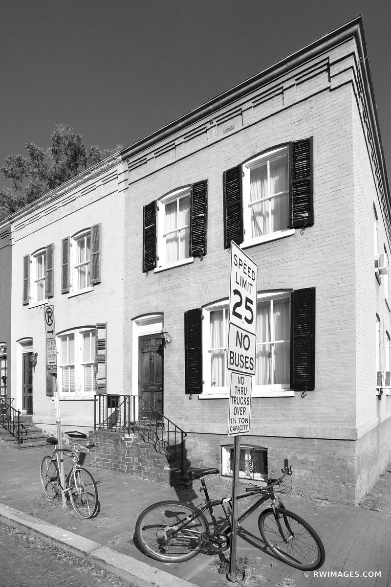 STREET CORNER HISTORIC GEORGETOWN ARCHITECTURE WASHINGTON DC BLACK AND WHITE