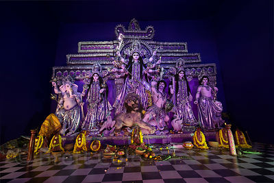 Striking purple Durga Puja pandal, Jodhpur Park, Kolkata, India