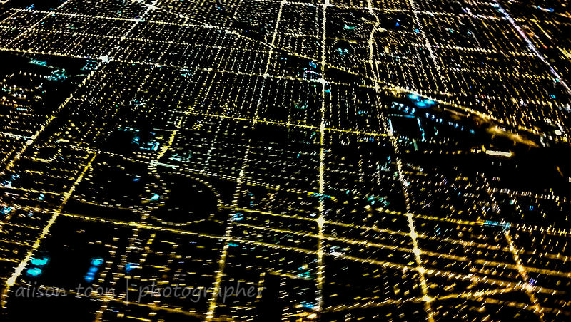 Chicago from above at night